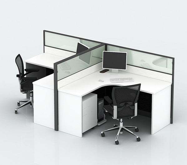 Aluminium Office Cabins : Aluminium glass office partition with laminate wood table