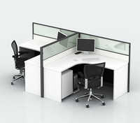 aluminium glass office partition with laminate wood table panel