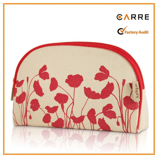 custom print 100% organic cotton cosmetic bag