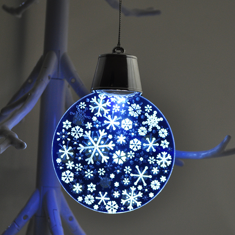 christmas tree decoration led light flash round snowflakes hanging ornament christmas baubles