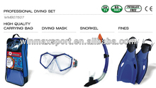 Winmax hot sale professional diving set (full face mask +Snorkel+ high quality bag +fins)
