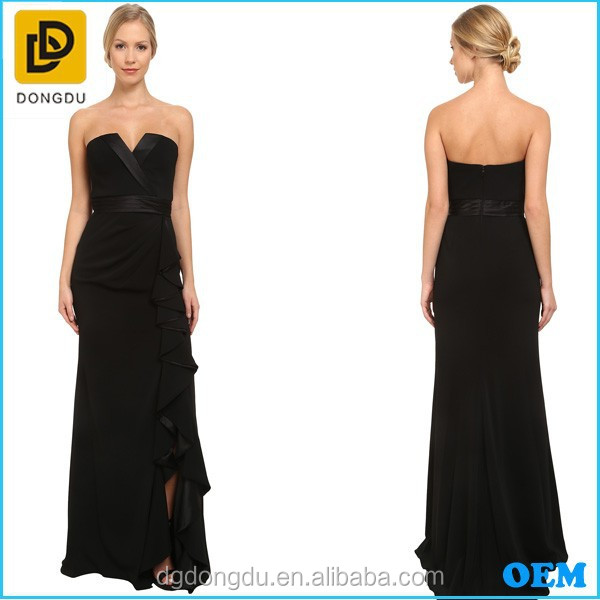 2016 new arrival long maxi dress sleeveless backless V-neck sexy women dress black full length evening gowns