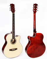 40 inch cutaway acoustic guitar with basswood top