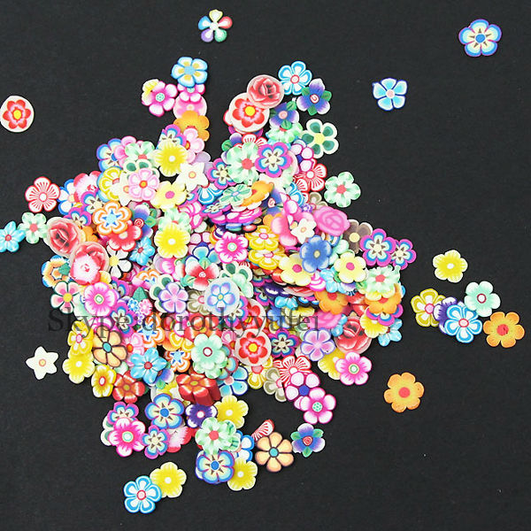 Hot sale 3D Flower Decal Nail fruit clay sticker Fimo Nail Art