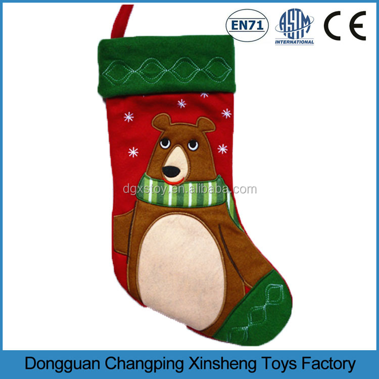 2017 Christmas Socks Christmas Stockings Plush Toy, OEM accepted. Pass ASTM / EN71