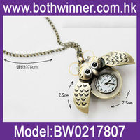 Vintage Lovely Animal Owl Pocket Watch Necklaces