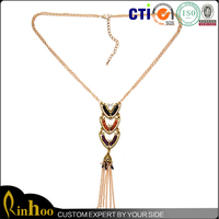 Egyptian Style Long Pendant Necklace With Chains Tassel
