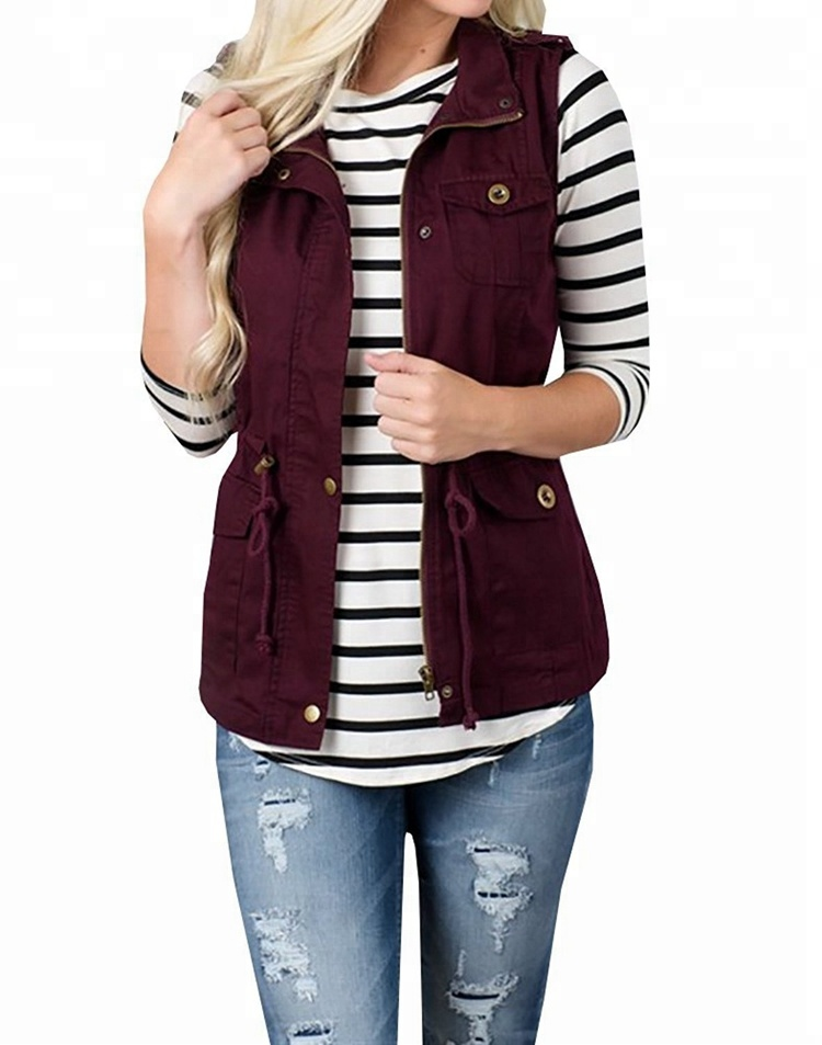 Drawstring Pockets <strong>Buttons</strong> Casual Waistcoat <strong>Utility</strong> Military Women Vest Coat