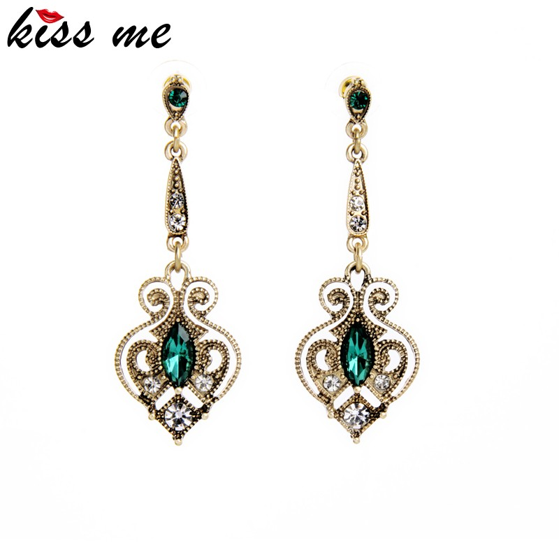 New 2016 Latest Vintage Emerald Alloy Dubai Gold Earrings Tops Design