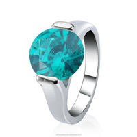 2015 Sparkling 10 CT Emerald Stone Wholesale Brass Ring for women