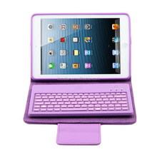 Detachable Bluetooth Keyboard Leather Case Cover for iPad Mini 1 2 3, Wireless Leather Keyboard for iPad Mini Retina F-IPDMKB003