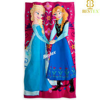 Wholesale printed Usa Cartoon character Princess Frozen beach towel