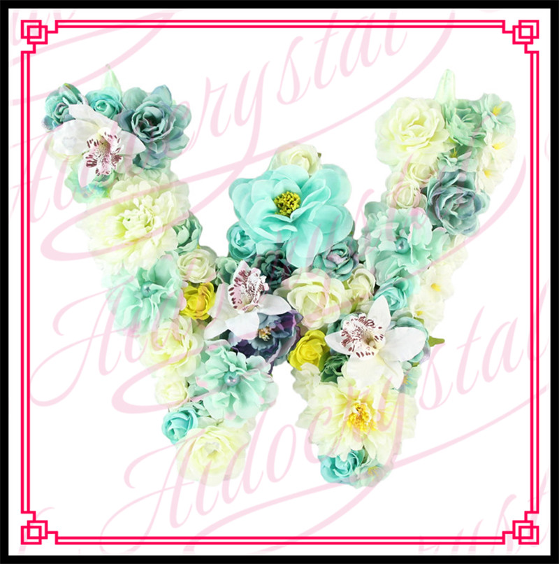 Aidocrystal handmade custom name hanging flower floral letter for wedding