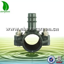Plastic pipe clamp saddle with barbed coupling