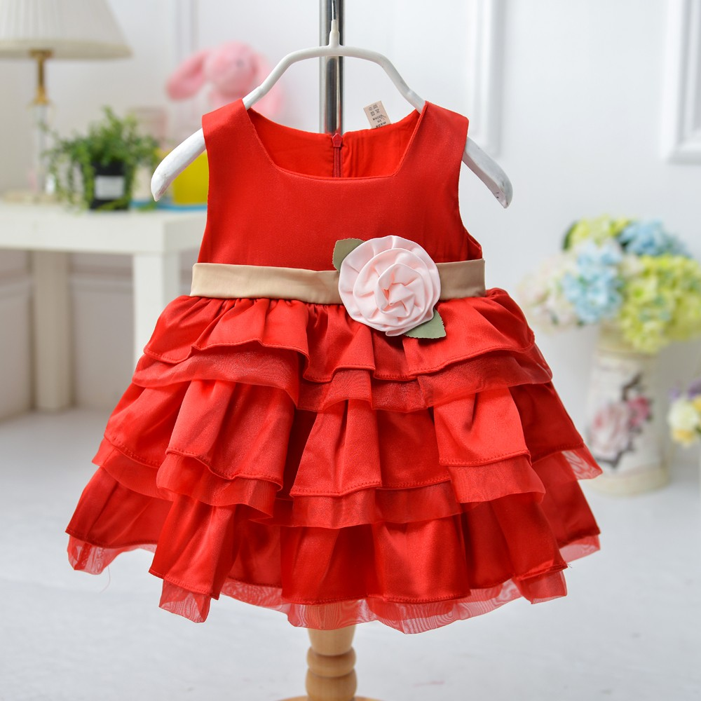 2015 fashion girl party dress white and red flower fashion kid dresses