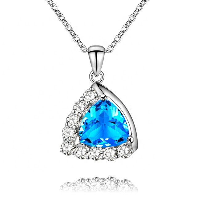 High quality <strong>1</strong>/Pcs 925 Sterling Silver Necklace For Women Gift 3 Color CZ Stone Pendant Necklace