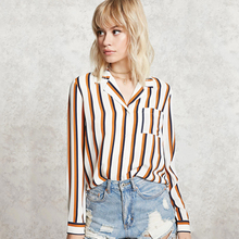 Wholesale new model slim fit stripes mature women blouse shirts