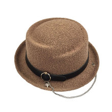 Korean summer all-match metal small ring chain beach sun shading straw cap hats