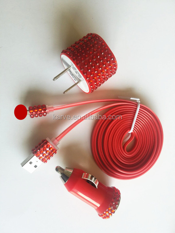Universal Bling diamond universal 3 in1 mobile phone 3ft data cable 5v 1a wall <strong>charger</strong> 5v 1a <strong>car</strong> <strong>charger</strong> <strong>charger</strong> kit