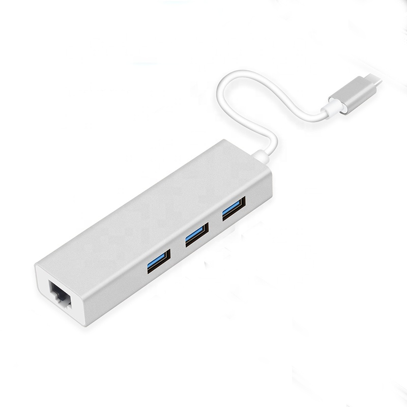 USB <strong>C</strong> Ethernet Rj45 Lan Adapter 3 Port USB Hub 1000Mbps Gigabit Ethernet USB 3.0 Network <strong>Card</strong>