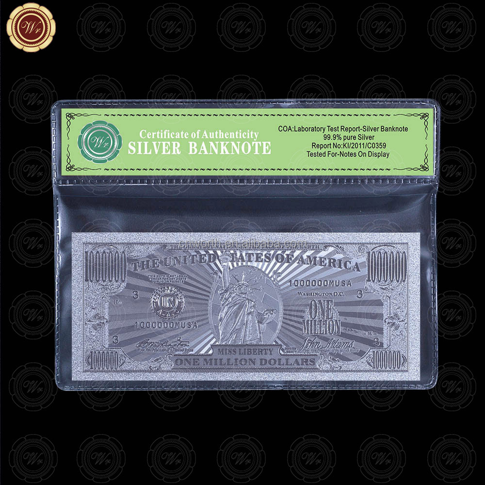 WR Fine Silver Foil One Million <strong>U</strong>.S.A Banknote Fancy Festival Gift Paper Money Collection