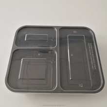 3 divider disposable fast food take out plastic container with lid