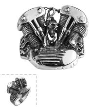 JN fashion jewelry 2017 Steam age wholesale mens black titanium steel vintage mens ring