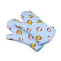 Promotion custom design durable extended kitchen double terry cloth oven mitt