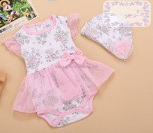 Wholesale summer cute baby girl cotton tulle onesie toddler pink tutu romper