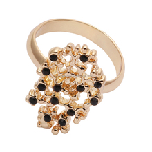 2017 hot crystal and rhinestone golden ring latest gold finger ring designs