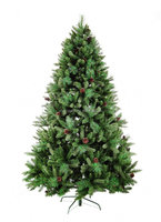 7ft PE mixed pvc pine needle with cones decoration artificial christmas tree