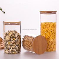 Heat resistant fresh keeping sealed borosilicate glass storage jar with wooden lid