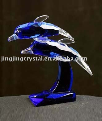 Lead Crystal Dolphin Figurine with china style