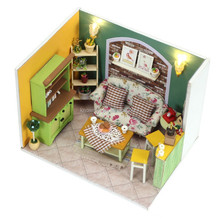 Doll House Miniature Furniture Handmade Light Christmas Gift House Diy Wooden