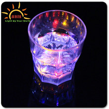 Liquid Activated Plastic Whiskey plastic Promotional Led Glow Cup, flashing light up Mark novelty glass