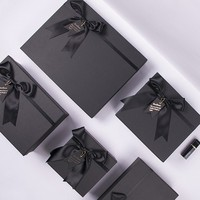 Low price eco friendly recyclable luxury 2 pieces rigid set up logo printed small black paper custom jewelry box with lid
