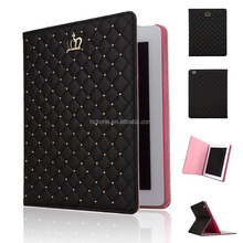 Wholesale PU Leather Crown Design Bling Protective Smart Stand Cases Cover for Apple iPad