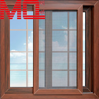 wooden color grill design pvc sliding window with mosquito net