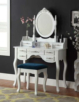 classic carved bedroom furniture dressing table with mirror