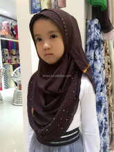 Beautiful elegant plain long chiffon dubai hijab scarf arab style tudung hijab for children
