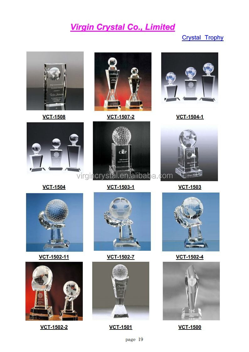 Wholesale Custom Design Personalized Clear Blank Crystal Globe trophies andAwards For 10 Years Anniversary Souvenirs