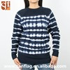 New products women crew neck long sleeve pullover 100%cotton christmas stripes knitted sweater with tie dyed import from china