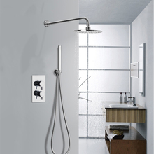Thermostatic dual concealed valve, brass shower mixer with showerhead rainfall
