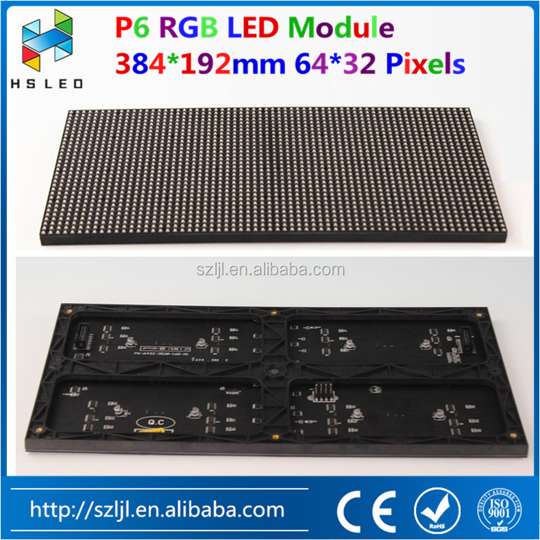 full color rgb led display HD P6 Indoor/Outdoor smd LED Module 384*192mm