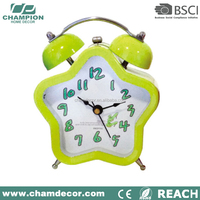 Star shape yellow funny talk double bell alarm clock , alarm clock wake up light