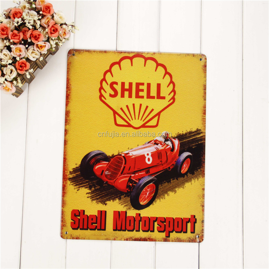 Retro Decorative Wholesale Custom Design Vintage Embossed Logo Tin Metal Sign Garage Sign