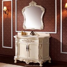 Ancient bathroom vanity, solid wood antique bathroom cabinet in ivory white WTS328