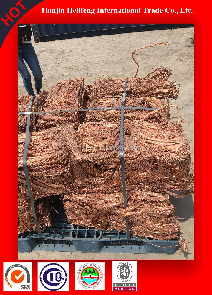 good plasticity bare bright copper wire scrap 99.9% for sale