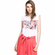 wholesale Flower print ladies new design Fasion Tank Top