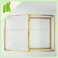 Hanging standing heart hexagon rectangle square triangle dimond shaped brass box/ case , glass embellished christmas photo frame